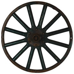 Antique Painted Iron Wheel