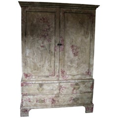 Antique Painted Linen Press, England, 1810-1820, Mahogany, England, Georgian