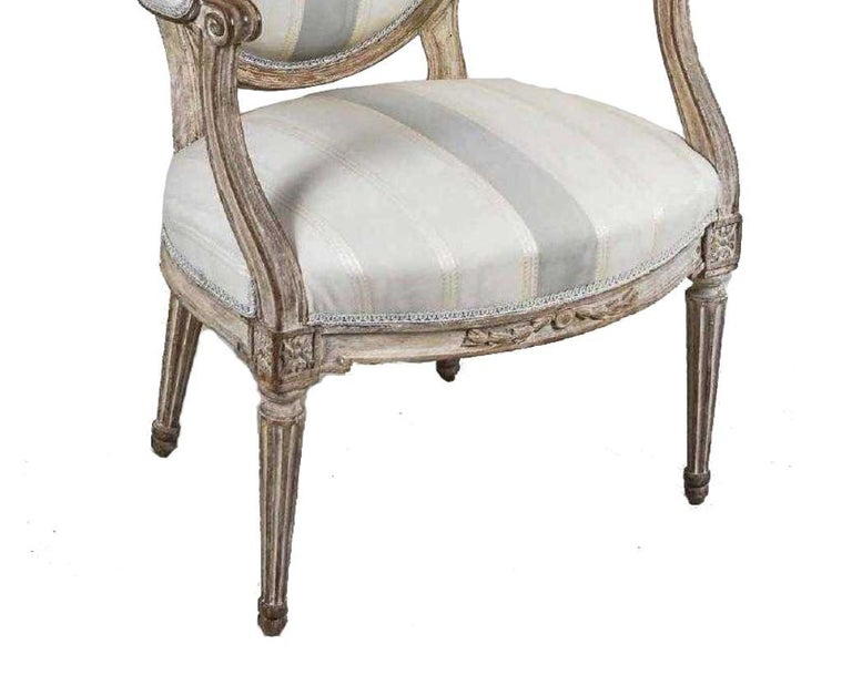 Unknown Antique Painted Louis XVI Style Armchair For Sale