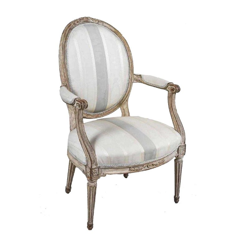Carved Antique Painted Louis XVI Style Armchair For Sale