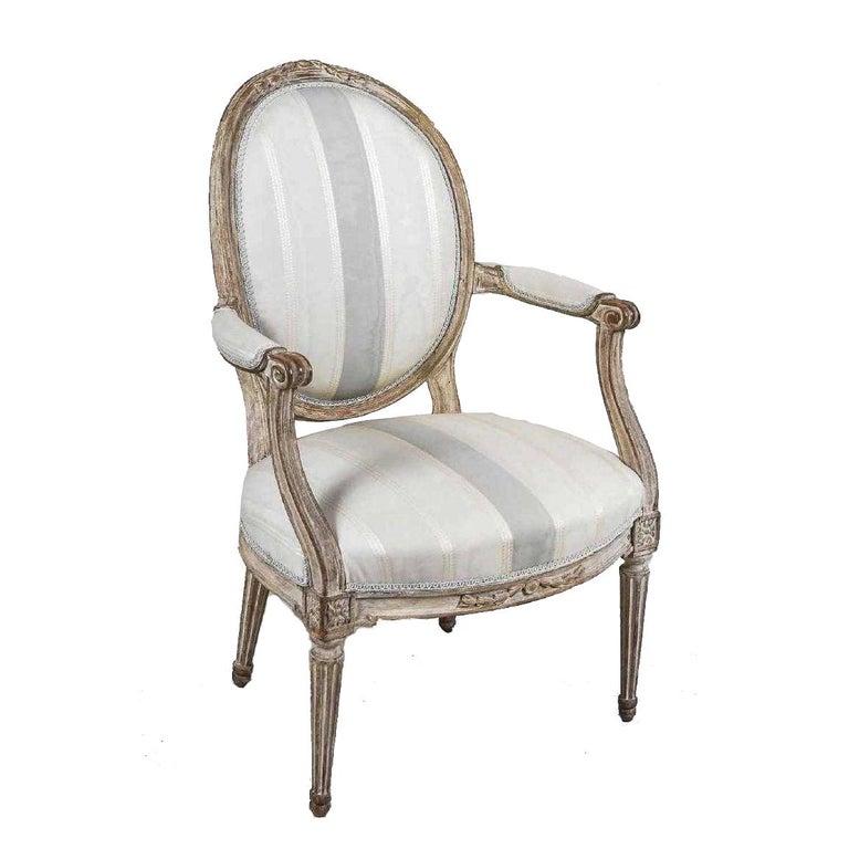 Antique Painted Louis XVI Style Armchair For Sale