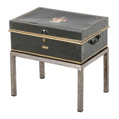 Antique Painted Money/ File Box on Custom Stand