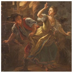 Antique Painted Night Fire Scene with 18th Century Characters