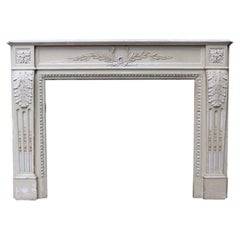 Antique Painted Pine and Composition Fire Surround