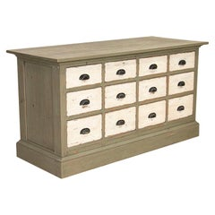 Antique Painted Pine Shop Counter Farmhouse Sideboard, Kitchen Island