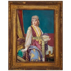 Antique Painted Porcelain Plaque Depicting an Orientalist Beauty, Signed Vienna