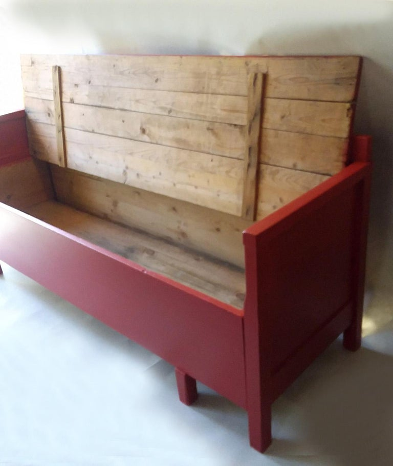 Gustavian Antique Painted Red Swedish Daybed/Bench/Child's Bed For Sale