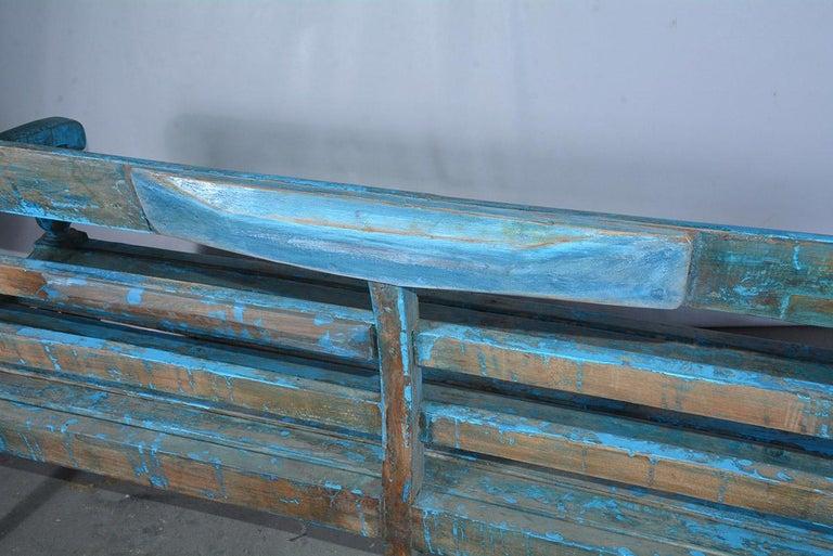 Antique Painted Teak Wood Garden Bench For Sale 3