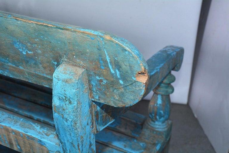 Antique Painted Teak Wood Garden Bench For Sale 4