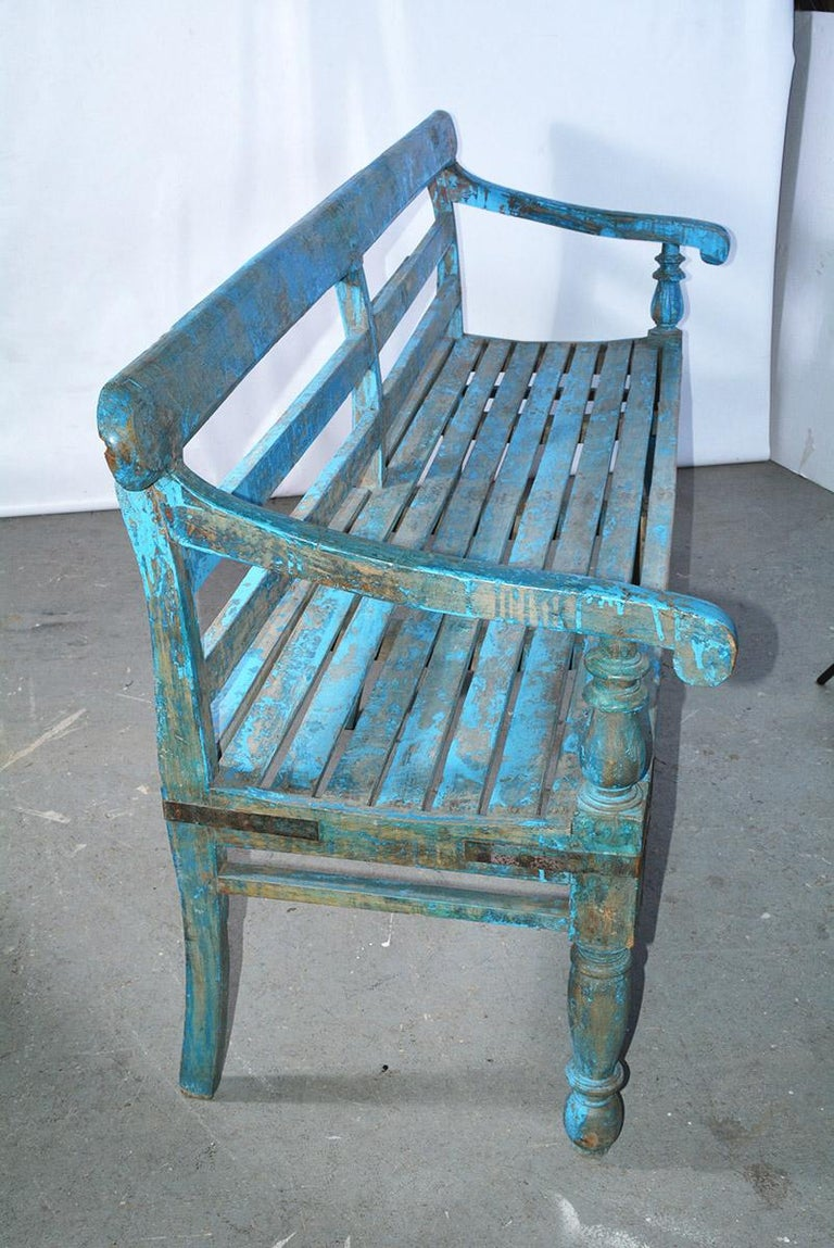 Anglo-Indian Antique Painted Teak Wood Garden Bench For Sale