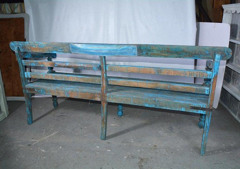 British Indian Ocean Territory Antique Painted Teak Wood Garden Bench For Sale