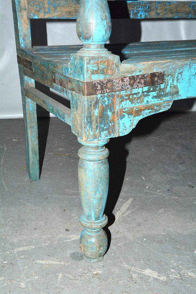 Hand-Crafted Antique Painted Teak Wood Garden Bench For Sale