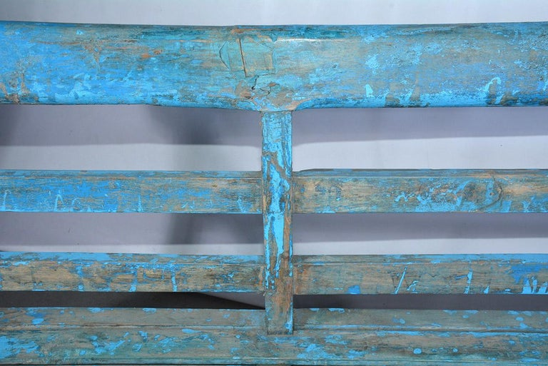 19th Century Antique Painted Teak Wood Garden Bench For Sale