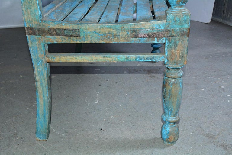 Antique Painted Teak Wood Garden Bench For Sale 1