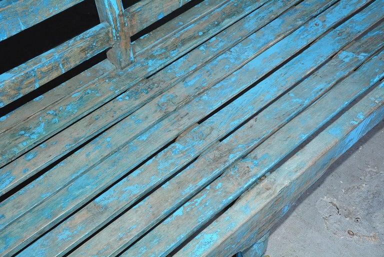 Antique Painted Teak Wood Garden Bench For Sale 2