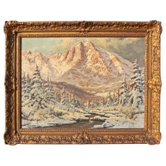 Antique Painting Alpine Landscape by Lazlo Neogrady