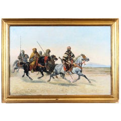 Antique Painting Bedouin War Party by Giuseppe Raggio 1883 19th Century