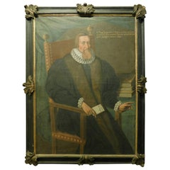 Antique Painting Depicting a Doctor of the Noble Cigalini Family, 1600, Italy