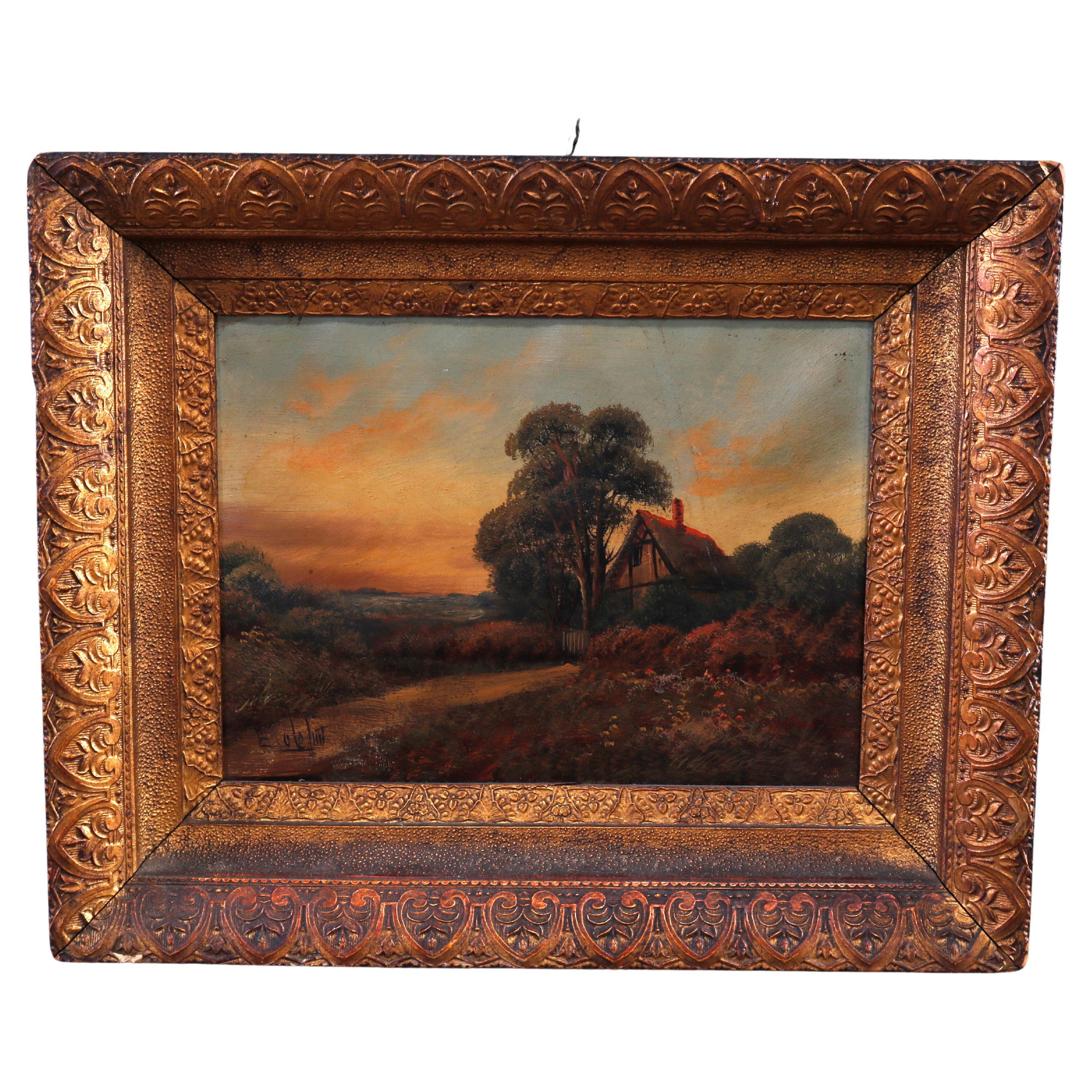 Antique Painting E. Cole, Landscape with Cottage, circa 1900