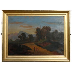 Antique Painting Folk Art Landscape in First Finish Lemon Gilt Frame, circa 1860