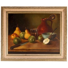 Antique Painting, Fruit Still Life Oil on Canvas, Artist Signed, circa 1920