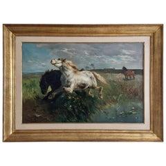 Antique Dutch Painting, Henry Schouten, Belgian Draft Horses, 1900