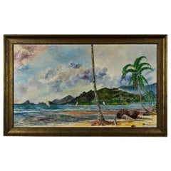 Antique Painting# Indonesia Sumatra Telukbetung 1931 Bandar Lampung Artist Sign