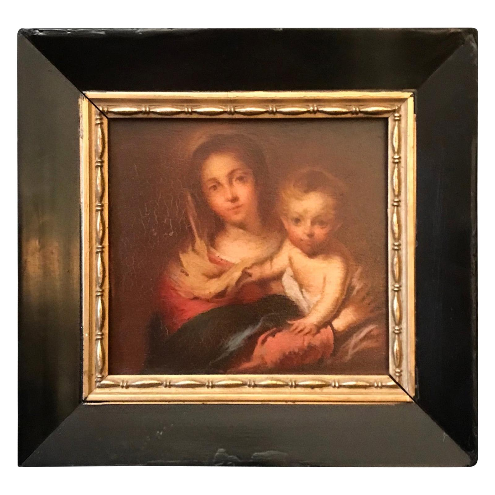 """Antique Painting """"Madonna with a Napkin"""" after Bartolome Esteban Murillo, 1666"""