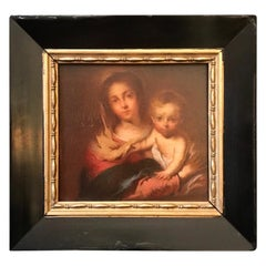 "Antique Painting ""Madonna with a Napkin"" after Bartolome Esteban Murillo, 1666"