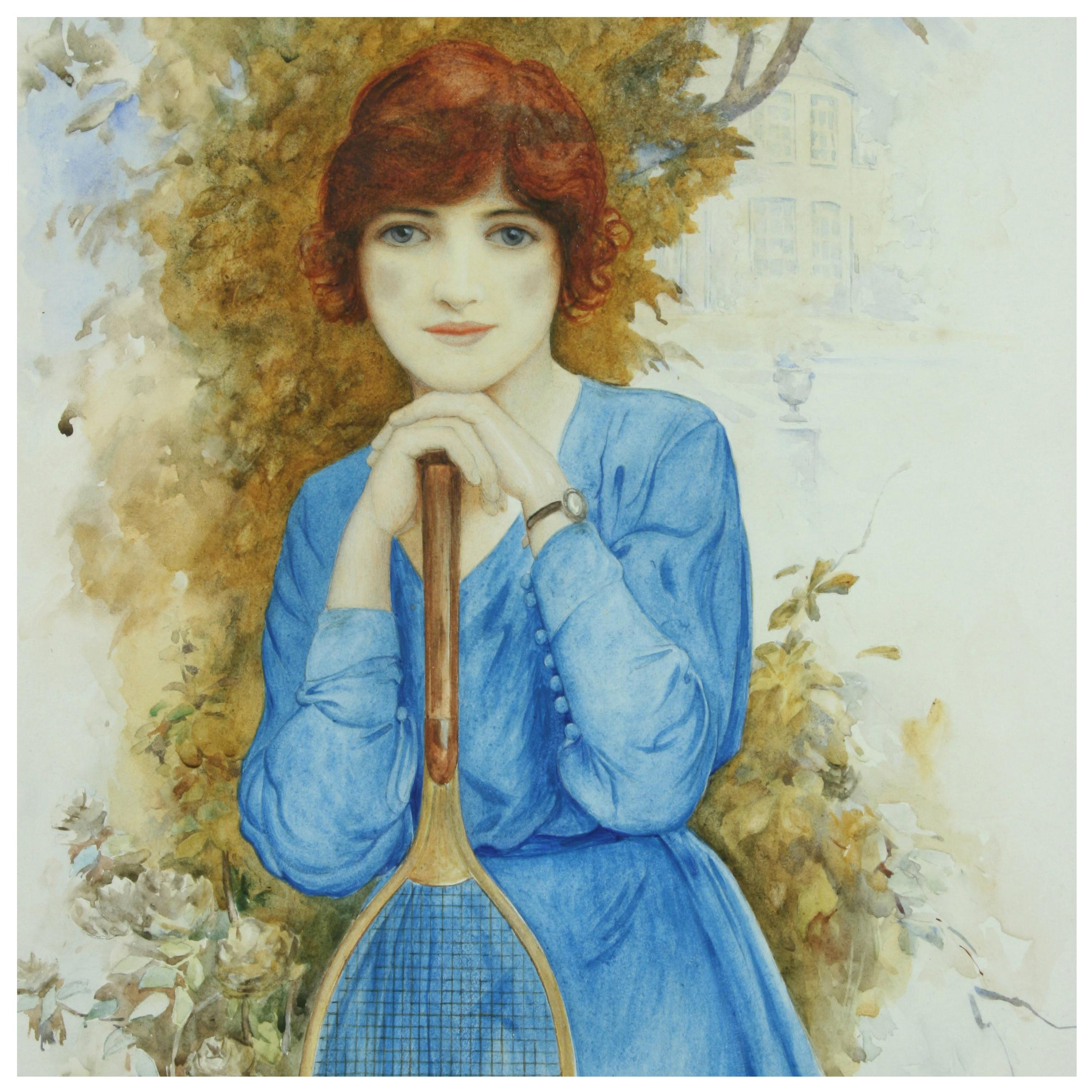 Antique Painting of a Young Tennis Player, Watercolor