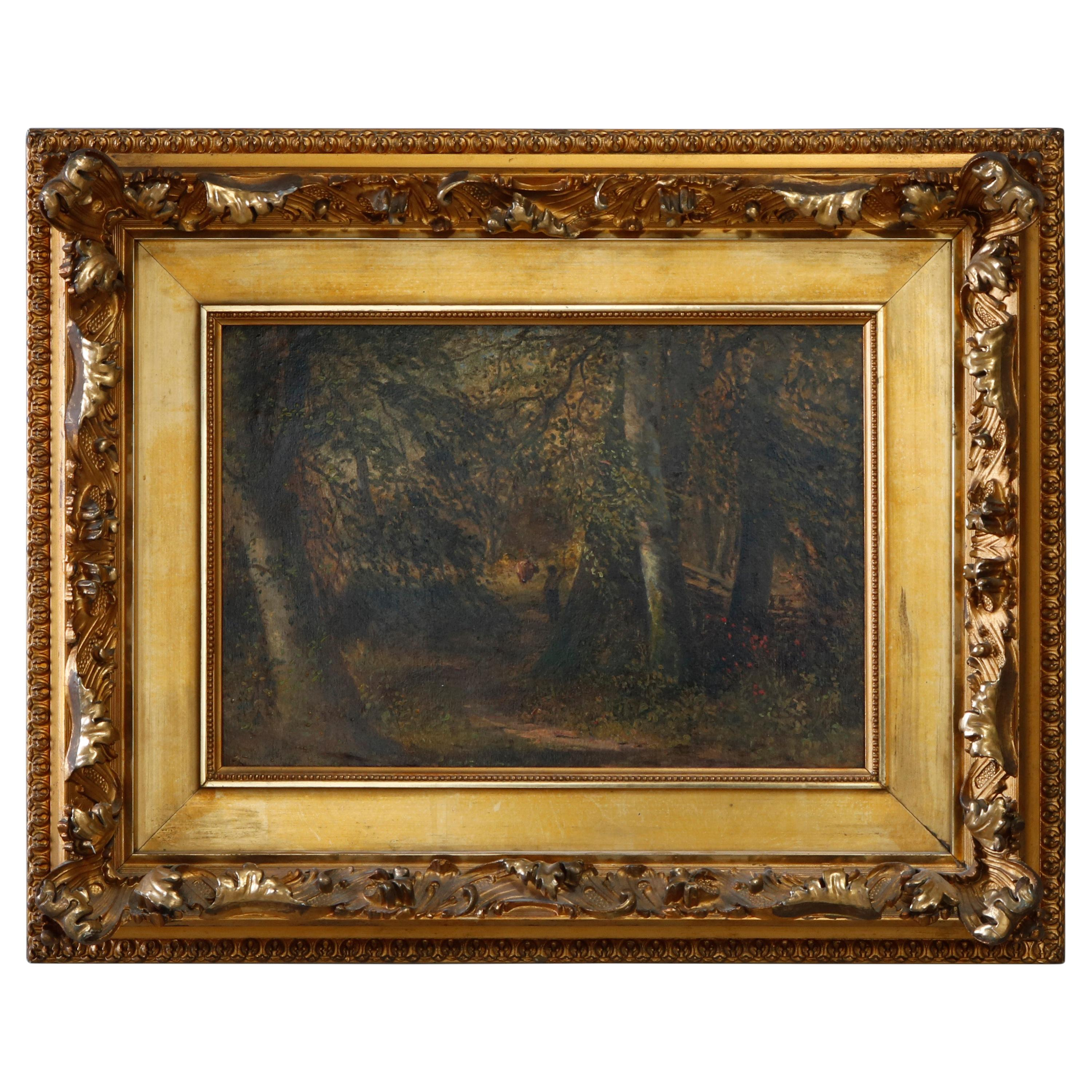 Antique Painting of Forest Landscape with Figures, Ornate Giltwood Frame, c 1890