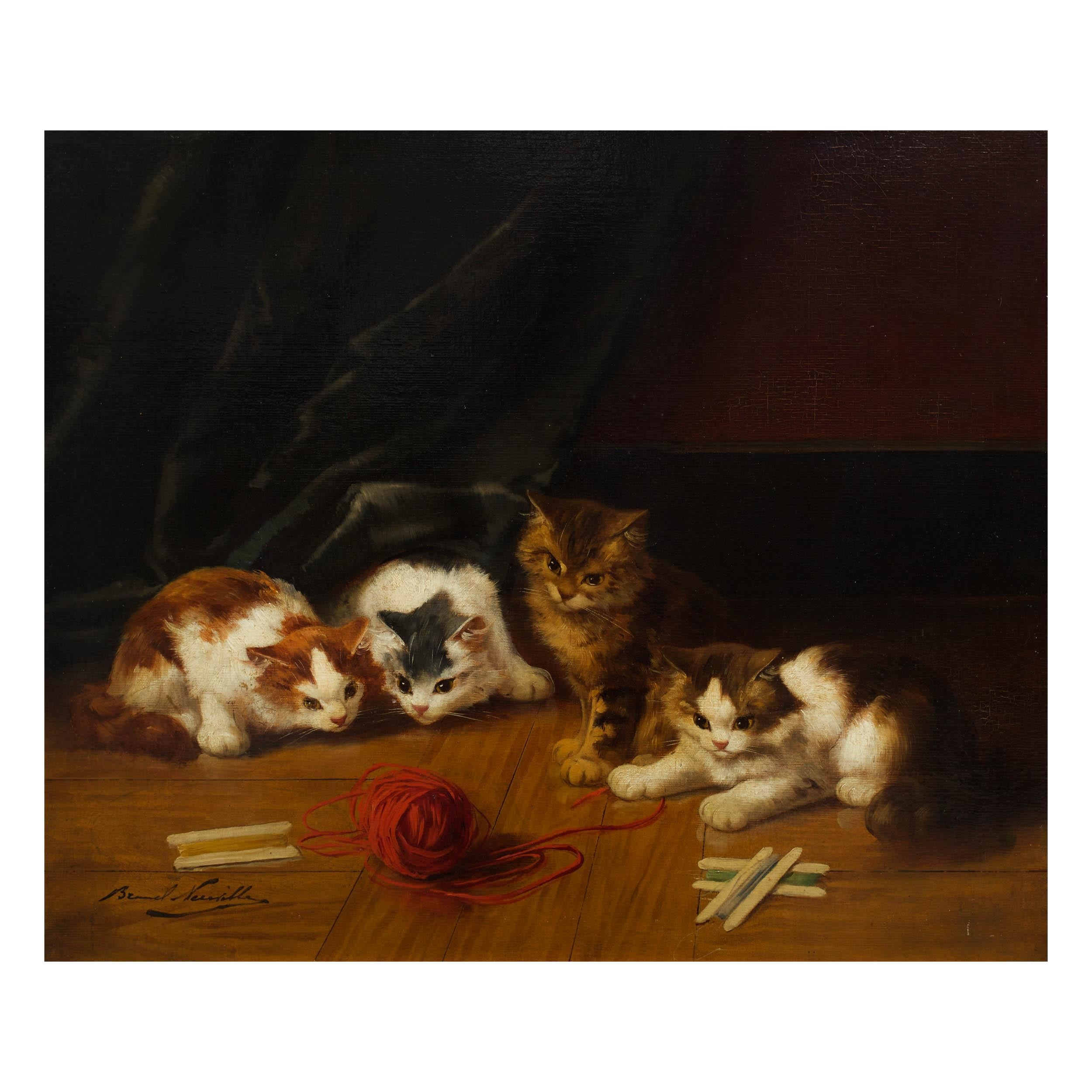 """Antique Painting of """"Kittens at Play"""" by Alfred Arthur Brunel de Neuville"""