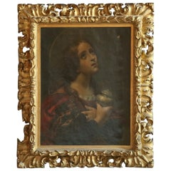 Antique Painting of Madonna Portrait in Giltwood Frame, 19th Century