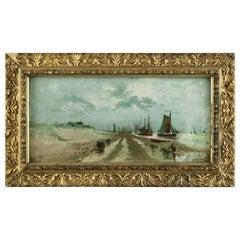 Antique Painting, Oil on Board Seascape with Boats, 19th Century