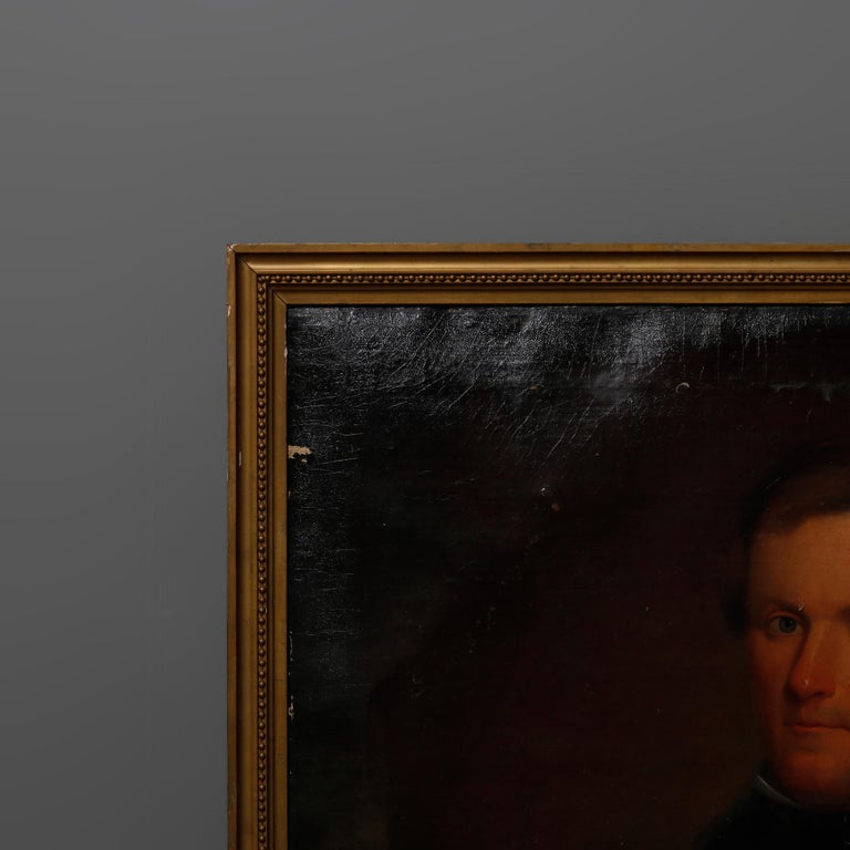Antique Painting, Oil on Canvas Portrait of Gentleman, circa 1870 In Good Condition For Sale In Big Flats, NY