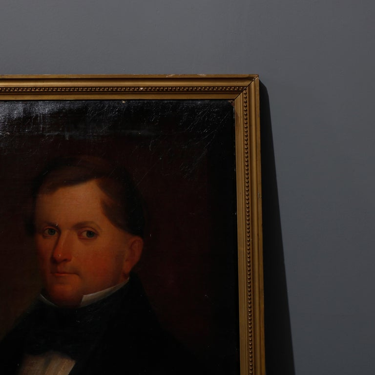 19th Century Antique Painting, Oil on Canvas Portrait of Gentleman, circa 1870 For Sale