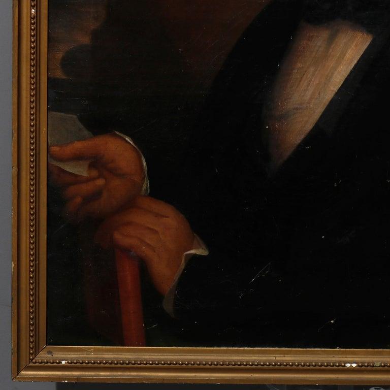 Antique Painting, Oil on Canvas Portrait of Gentleman, circa 1870 For Sale 1