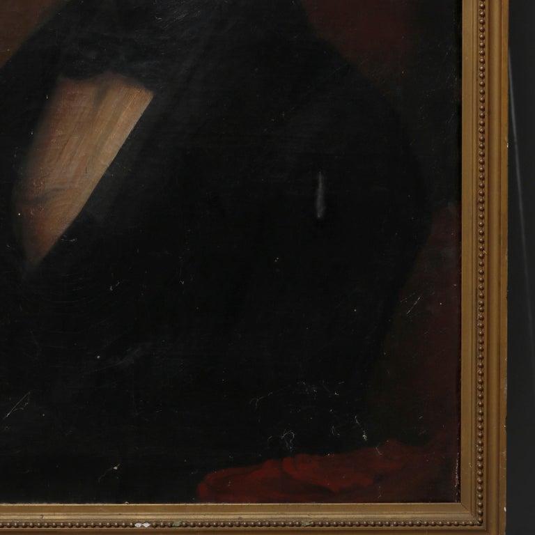 Antique Painting, Oil on Canvas Portrait of Gentleman, circa 1870 For Sale 2