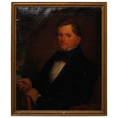 Antique Painting, Oil on Canvas Portrait of Gentleman, circa 1870