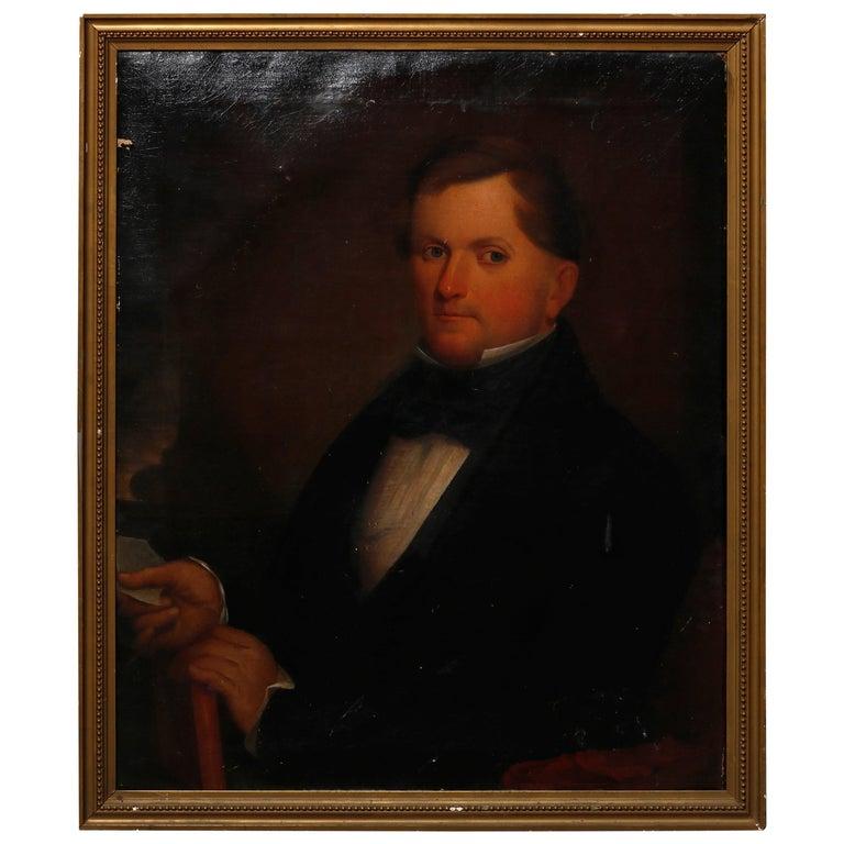 Antique Painting, Oil on Canvas Portrait of Gentleman, circa 1870 For Sale