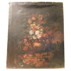 Antique Painting on Canvas, Floral on a Black Background, 1800 Italy