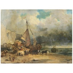 Antique Painting, Orientalist Oil on Canvas of Shipwreck, Signed and Dated