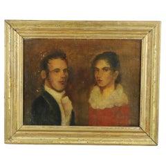 Antique Painting Portrait of a Lady & Gentleman Couple by Joshua Johnson, c1840