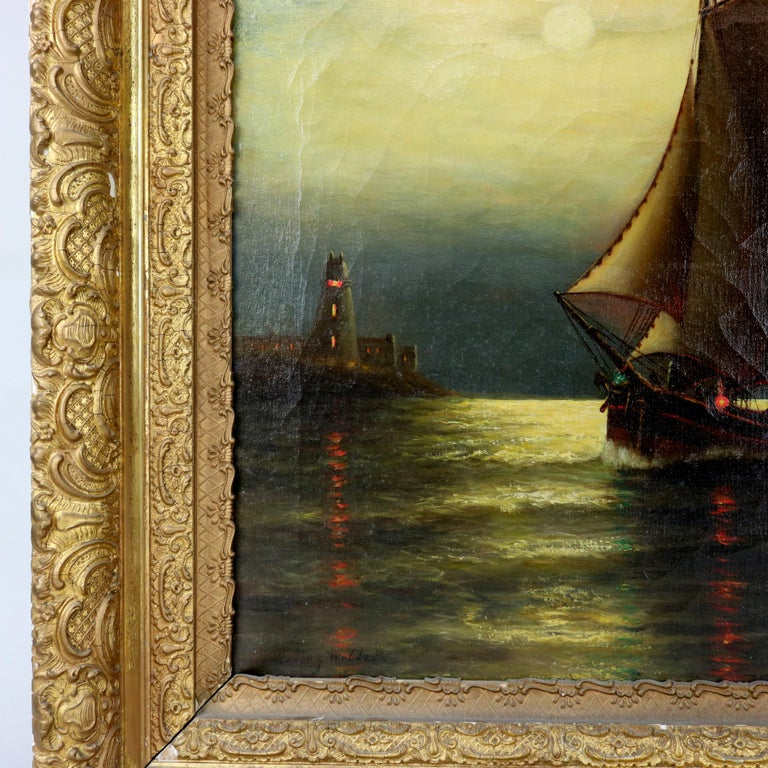 American Antique Painting, Seascape with Moonlit Sailboat by Wesley Webber, circa 1900