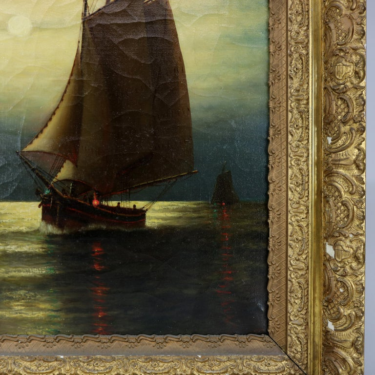 Hand-Painted Antique Painting, Seascape with Moonlit Sailboat by Wesley Webber, circa 1900