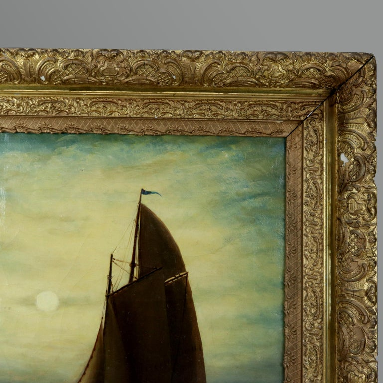 Antique Painting, Seascape with Moonlit Sailboat by Wesley Webber, circa 1900 In Good Condition In Big Flats, NY