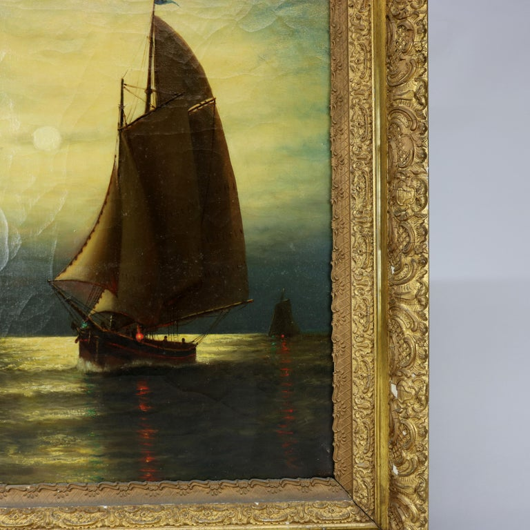20th Century Antique Painting, Seascape with Moonlit Sailboat by Wesley Webber, circa 1900