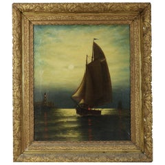 Antique Painting, Seascape with Moonlit Sailboat by Wesley Webber, circa 1900
