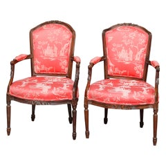 Pair of 18th Century French Louis XVI Carved Fruitwood and Upholstered Armchairs