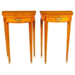 Antique Pair Adam Revival Demilune Satinwood Side Console Tables, 19th Century
